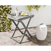 Safavieh Covina Patio Tray Table in Ash Grey