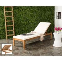 Safavieh Arcata Outdoor Chaise Sun Lounger in Teak Brown/ Beige