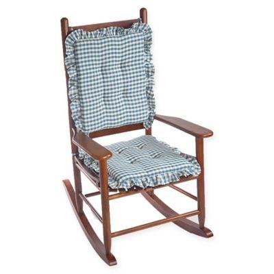 Klear Vu Gingham Ruffle 2 Piece Rocking Chair Pad Set In Blue