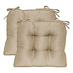 Morocco Boxed Edge Seat Cushion in Parchment (Set of 2)