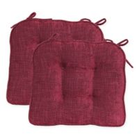 Jordan Boxed Edge Seat Cushion in Burgundy (Set of 2)