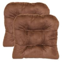 Faux Suede Non-Skid Waterfall Chair Pad in Coffee Bean (Set of 2)