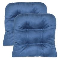 Faux Suede Non-Skid Waterfall Chair Pad in Denim (Set of 2)