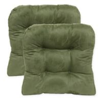 Faux Suede Non-Skid Waterfall Chair Pad in Leaf Green (Set of 2)