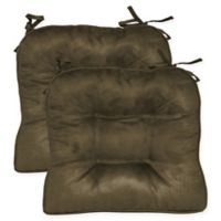 Faux Suede Boxed Edge Seat Cushions in Coffee Bean (Set of 2)