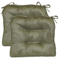 Faux Suede Boxed Edge Seat Cushions in Leaf Green (Set of 2)