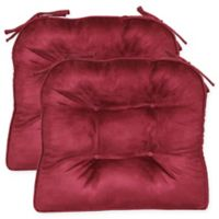 Faux Suede Boxed Edge Seat Cushions in Mulberry (Set of 2)