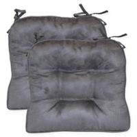 Faux Suede Boxed Edge Seat Cushions in Pewter (Set of 2)