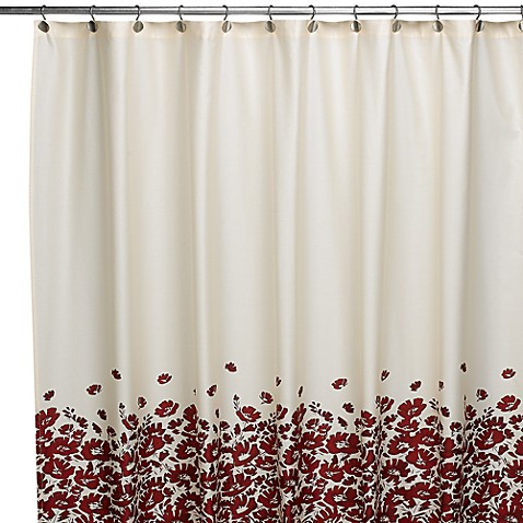 DKNY Wildflower Field Red Fabric Shower Curtain 100 Cotton