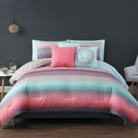 Avondale Manor Cypress 10-Piece Reversible King Comforter Set in Coral/Blue