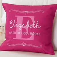 """My Name Means"" 18-Inch Square Throw Pillow for Girls"