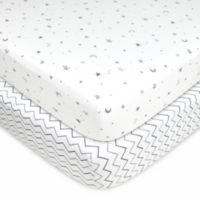 TL Care® 2-Pack Stars, Moon/Chevron Jersey Knit Fitted Crib Sheet