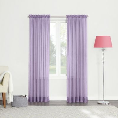84 Inch Sheer Rod Pocket Window Curtain Panel In Lavender