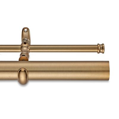 cambria estate 120inch double curtain rod in warm gold