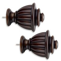 Cambria® Estate Wood Fluted Urn Finials in Chocolate (Set of 2)