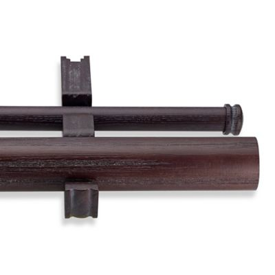CambriaR Estate Wood 42 Inch Double Smooth Curtain Rod In Java