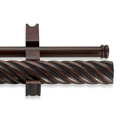 CambriaR Estate Wood 60 Inch Double Twisted Curtain Rod In Chocolate