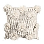 KAS Eden Pom Pom Square Throw Pillow in Ivory