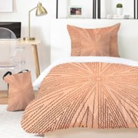 Deny Designs Iveta Abolina Copper Leaf 5-Piece Queen Duvet Cover Set in Gold