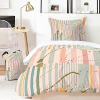 Deny Designs Iveta Abolina Lisbon Stripe 5-Piece Queen Duvet Cover Set in Pink
