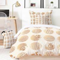Deny Designs Iveta Abolina Vanilla Dot 4-Piece Twin XL Duvet Cover Set in Gold