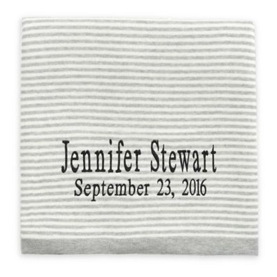 Personalized baby blankets from buy buy baby blankets elegant baby striped fine gauge knit blanket in grey negle Images