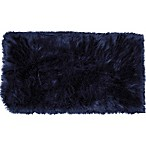 Home Dynamix Aspen Faux Fur Accent Rug in Navy