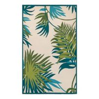 Couristan® Jungle Leaves Indoor/Outdoor 2-Foot x 4-Foot Accent Rug in Ivory/Green