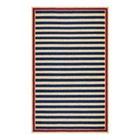 Couristan® Nautical Stripes Indoor/Outdoor 3-Foot 6-Inch x 5-Foot 6-Inch Area Rug in Navy/Red