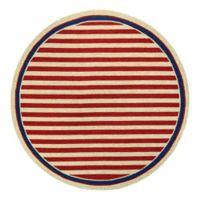 Couristan® Nautical Stripes Indoor/Outdoor 7-Foot 10-Inch Round Area Rug in Red/Navy