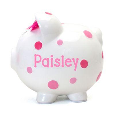 Child To Cherish Multi Dot Piggy Bank In Pink