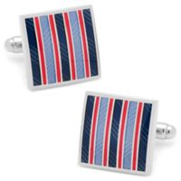 Ox & Bull Trading Co. Silver-Plated Red and Blue Striped Square Cufflinks