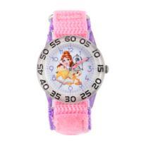 Disney® Princess Belle Children's 32mm Time Teacher Watch with Pink Nylon Strap
