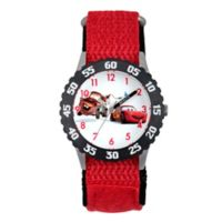 "Disney® ""Cars"" Children's 32mm Time Teacher Watch in Stainless Steel with Red Nylon Strap"