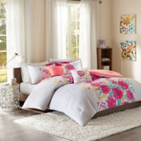 Intelligent Design Elodie Reversible Full/Queen Comforter Set in Coral/White