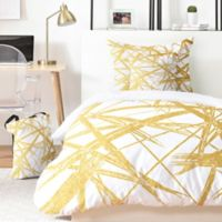 Deny Designs Khristian A. Howell Strokes 5-Piece King Duvet Cover Set in Gold