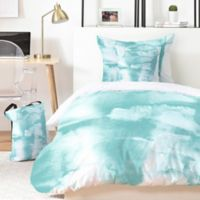Deny Designs Mareike Boehmer Watercolors 4-Piece Twin XL Duvet Cover Set in Teal/White