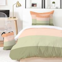 Deny Designs Shannon Clark Spring Stripes King Duvet Cover Set in Green