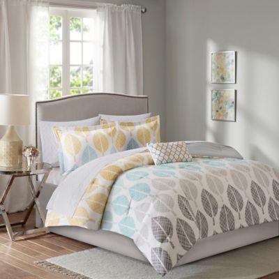 madison park essentials central park 9piece queen reversible comforter set in yellowaqua - Queen Bed Comforter Sets