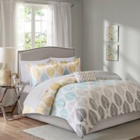 Madison Park Essentials Central Park 7-Piece Twin Reversible Comforter Set in Yellow/Aqua