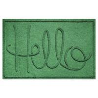 """Weather Guard™ """"Hello"""" 24-Inch x 36-Inch Door Mat in Light Green"""