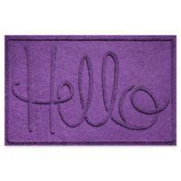 """Weather Guard™ """"Hello"""" 24-Inch x 36-Inch Door Mat in Purple"""