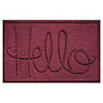 "Weather Guard™ ""Hello"" 24-Inch x 36-Inch Door Mat in Burgundy"