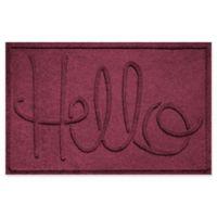 """Weather Guard™ """"Hello"""" 24-Inch x 36-Inch Door Mat in Burgundy"""