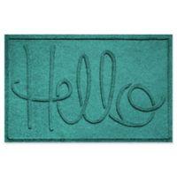 """Weather Guard™ """"Hello"""" 24-Inch x 36-Inch Door Mat in Aqua"""