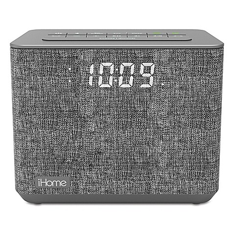 image of iHome™ FM Bluetooth Alarm Clock in Grey with USB Port