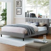Modway Linnea Queen Upholstered Platform Bed in Light Grey