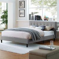 Modway Linnea Queen Upholstered Platform Bed in Light Grey