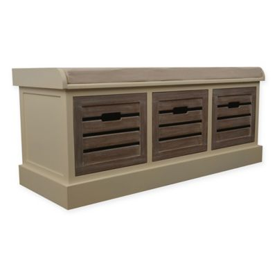 Amazing Decor Therapy Melody Storage Bench In White/Brown