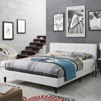 Modway Linnea Full Upholstered Platform Bed in White Vinyl